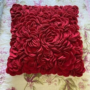 Pier One Red Rose 3D Accent Pillow